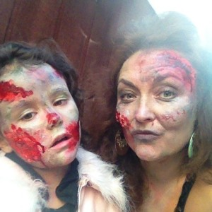 Halloween 2015 - the zombie popstar & her manager (6yo wanted the gory look)